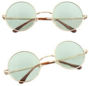 502dc3a374 Circle Round Vintage Style Sunglasses Festival Geek Retro Cyber Gold Frame  Green Lens