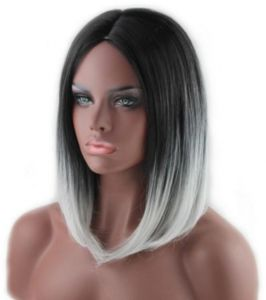 5f081a1b26b woman short straight black and gray Gradient color Fashion short wigs