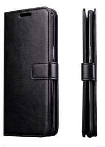 Flip cover for Samsung Galaxy S8 Plus Horsehide stand Case with Photo clip Card Slots and Wallet Black