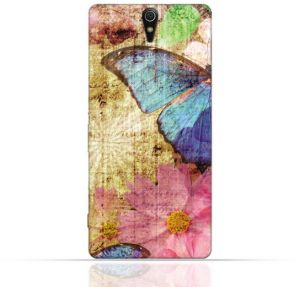 Sony Xperia C5 Ultra TPU Silicone Case with Vintage Butterfly Pattern