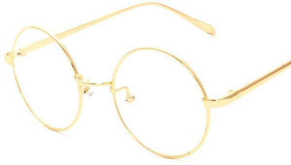 Korean Fashion Gold Frame Flat Glasses Classical Round Clear Lens ...
