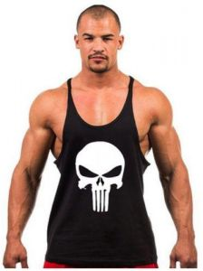 056a7af84970ff The Punisher Skull Y back muscle sleeveless gym fitness shirt in Black -  Size L
