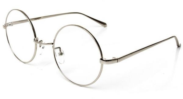 8748ebca1 Metal Silver Frame Flat Glasses Round Retro Clear Lens Eyeglasses