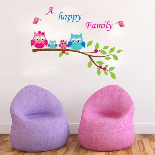 children 's sofa bedroom study owl cute wall stickers removable wall