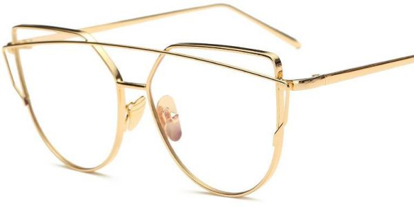 ee28412c43 Vintage Cat Eye Glasses for Women Gold Frame Clear Lens Eyewear ...
