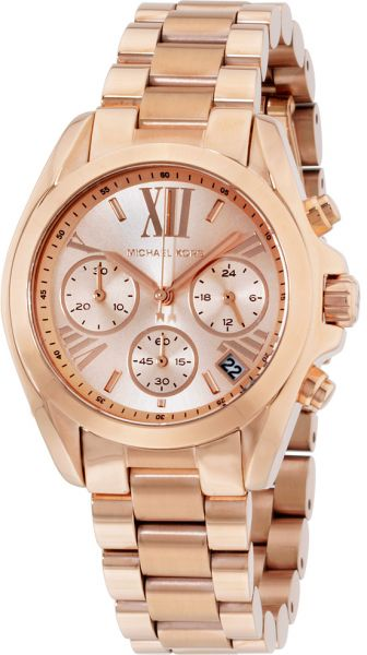 0141be935ac Michael Kors Bradshaw Women s Rose Gold Dial Stainless Steel Band Watch -  MK5799