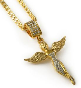 Angel Piece Wind Pendant Necklace 18k Gold Plated Necklace For Men Women  Charm Jewelry d95e369bb