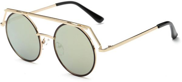 20e3aa3792 Trend Fashion Young Round UV Protect Gold Frame Sunglasses for Women
