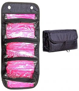 63e0092a3 Makeup Bag Cosmetic Hanging Organizer Roll N Go Roll Up Foldable Clear Case  Pouch Toiletry (Black)