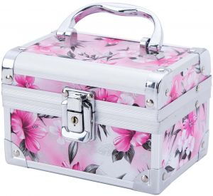 c563e7b26f932 Portable Ladies Women Girls Aluminum Makeup Train Case