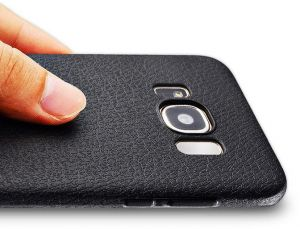 Samsung Galaxy S8 - Luxury Ultra Thin Leather Soft Phone Case Back Cover- Black