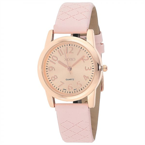 Xoxo women 39 s rose gold dial leather band watch xo3476 souq uae for Watches xoxo
