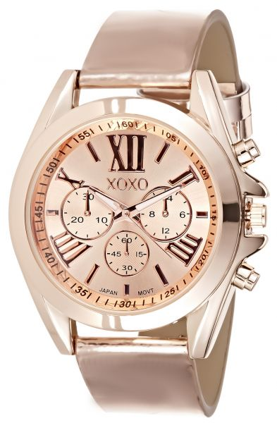 Xoxo women 39 s gold dial leather band watch x03496 price review and buy in kuwait kuwait city for Watches xoxo