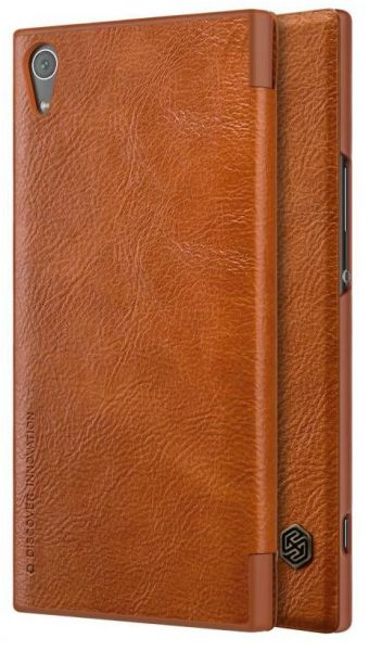 innovative design be18b 7a644 Flip Cover By Nillkin Qin Leather For Sony Xperia XA1 Ultra G3221 - Brown