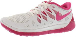 hot sales ddf9c 467da Nike Free 5.0 GS Running Shoes for Girls, White Vivid Pink Pure Platinum