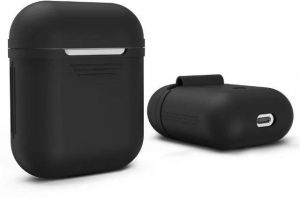 free shipping 65868 f9bcd For AirPods Case Protective Soft Silicone Charging Cover Pouch Case Skin  Sleeve -Black