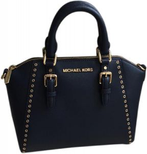fa4d944e01571 Michael kors Ciara Grommet Saffiano Leather Crossbody Navy Blue Satchel
