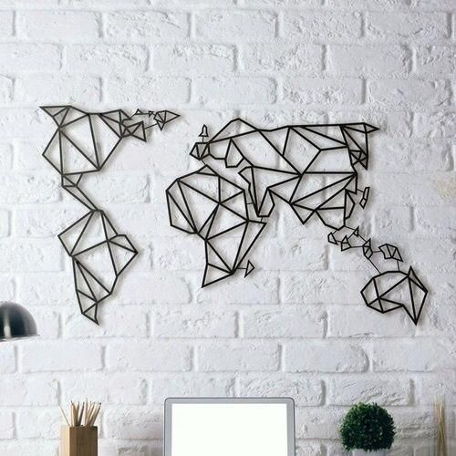 Laser Cut World Map.Laser Cut Metal Geometric World Map Wall Art Black Ksa Souq