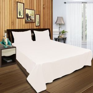 3 Pc Bed Sheet Set, King Size, Cotton 300 Tc Sateen Stripe, Milky White  Premium Bedsheet With 2 Pillow Covers By Just Linen