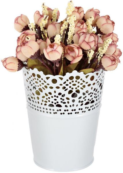 souq | home decor beautiful metal flower pot with plastic flowers