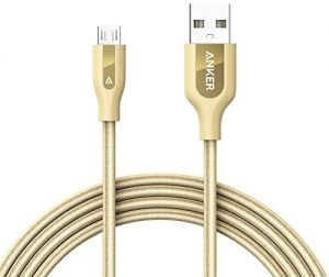 Anker 6ft PowerLine+ Micro USB Nylon Braided Cable - Gold, A8143HB1