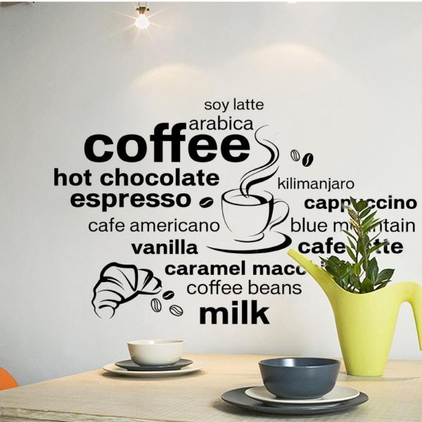 Souq   Coffee English words design Mural stickers DIY Removable ...