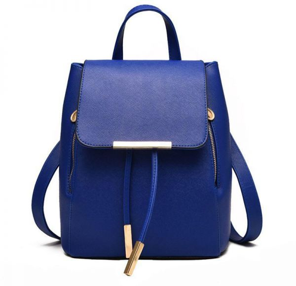 43e38c3795 Trendy Blue Leather Fashion Backpacks For Women Chic Ladies Girls School  Backpacks Korean Style Bags