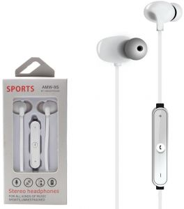4834c36a207 AMW-9S Sports Wireless Bluetooth Stereo In-ear Headphone with Noise  Cancelling and mic Compatible with HTC Desire 10 Pro, U Play, U ultra in  White