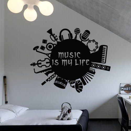 Music Wall Decals For Living Room Home Decor Waterproof Wall Stickers