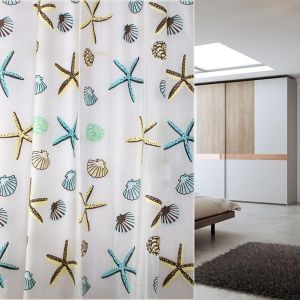 Polyester Fabric Starfish Printing Shower Curtain 180cmx180 Cm