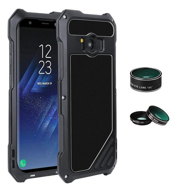 watch 43c84 3cce5 For Samsung Galaxy S8 Camera Lens Kit Mobile Phone Case 3 in 1 Dustproof  Shockproof Aluminum Case Protection Shell Cover-black