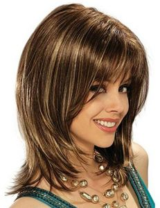 Mid Length Curly Gradient Color Fashion Hairstyle Wigs for woman af954affe8