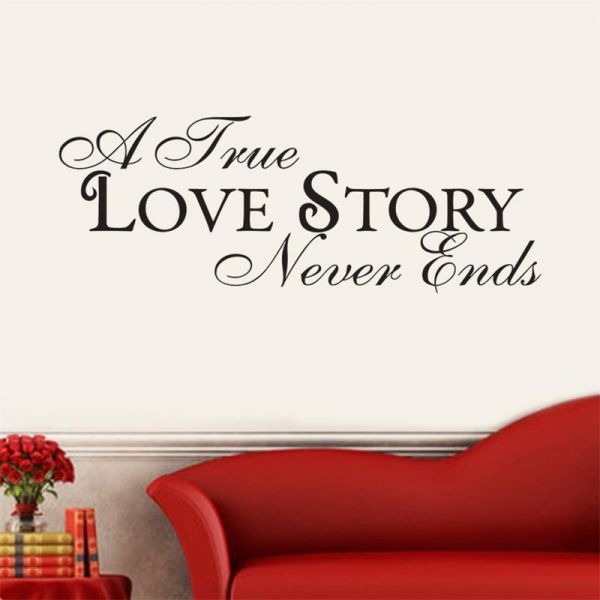 Self Adhesive Wall Sticker True Love Never End Not Affecting