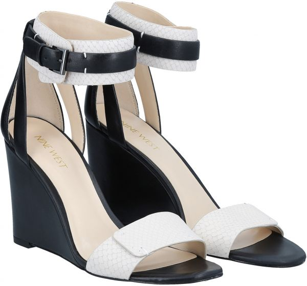 6a41ef1832be Nine West Wedge Sandals for Women - Black   White