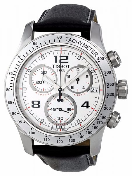 Tissot V8 Chronograph Men S White Dial Leather Band Watch T039