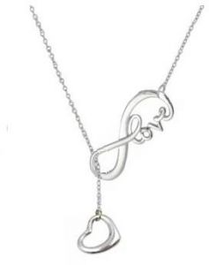 shop gold necklaces at vera perla papeyone santiyago uae souq Liberty Silver Dollar white gold plated infinity love with hanging heart chain necklace for women