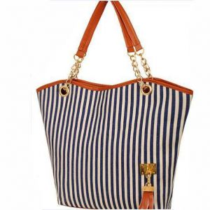 Fashion Canvas Tassel Chain Shoulder Bag Striped Hand Bag Women's HandBag