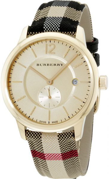 Burberry Women's Gold Dial Canvas Band Watch - BU10001
