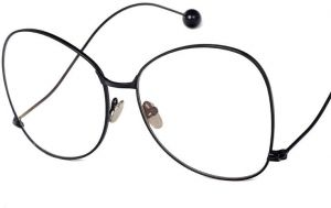 939b9b5eda3 Oversized Frame Flat Glasses Stylish Steel Ball Curved Legs Clear Lens  Eyewear With Case