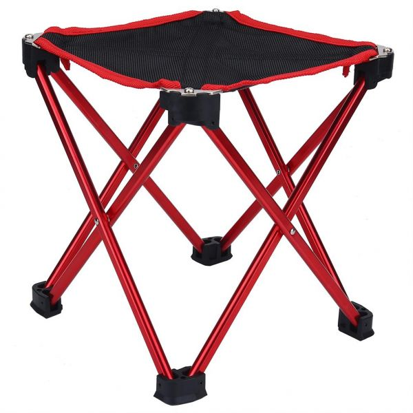 Portable Folding Stool Aluminum Alloy Fishing Chair Outdoor Camping Seat Red Souq Uae