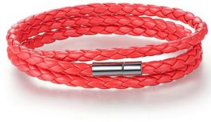 JK Long Chain Adjustable Magnet Buckle Unisex Leather Bracelets for Women and Men Fashion Jewelry PI0063,RED