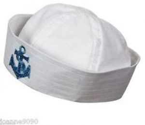 83b2262781c Adults and kids sailor navy boat costume hat cap with blue anchor graphic