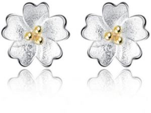 Ear Earrings For Women In The Form Of White And Gold Flowers Ksa