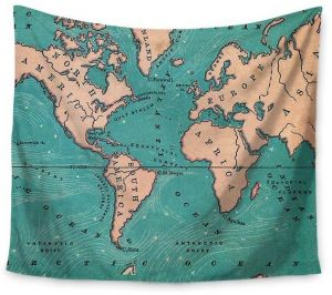 150x200cm World Map Polyester Tapestry Wall Hanging Carpet Bedspread ...