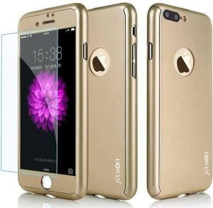 360 Degree All-round Protective Slim Fit Case Cover with Tempered Glass Screen Protector Skin for Apple iPhone 7 plus 5.5 GOLD