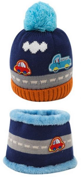 Souq New Cute Baby Girl Boy Knitted Hat Scarf Set Car Pattern