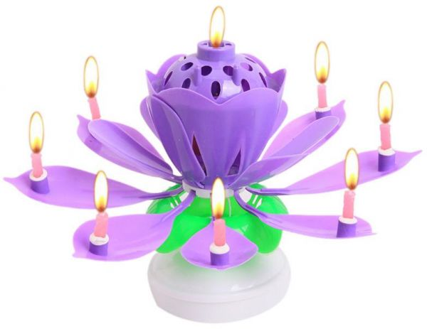 Creative Sparkling Birthday Candle Singing Double Layer Rotating Lotus Dish Cake Purple