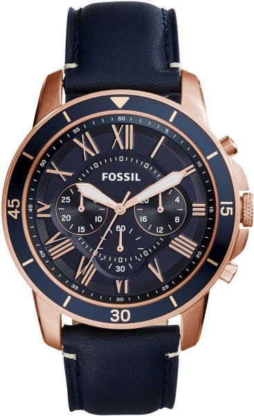 2fc622cce02 Fossil Grant Sport Men s Blue Dial Leather Band Chronograph Watch - FS5237.  by Fossil