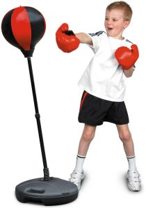 Velocity Toys Sports Boxing Punching Bag Freestanding With Pair Of Gloves Adjule Height For Kids