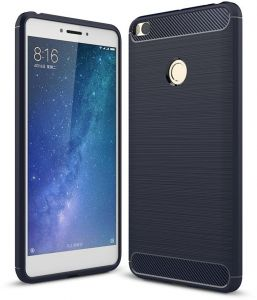 Rugged Armor Xiaomi Mi Max 2 Case with Resilient Shock Absorption and Carbon Fiber Design for Xiaomi Mi Max2 Cover - Blue